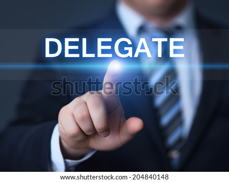 business, technology, internet and networking concept - businessman pressing delegate button on virtual screens #204840148
