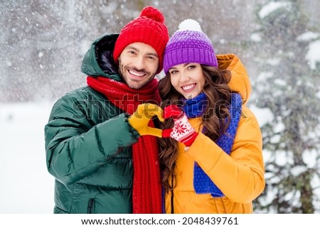 Photo of confident charming marriage couple wear windbreakers embracing walking snowy weather smiling outside park Royalty-Free Stock Photo #2048439761
