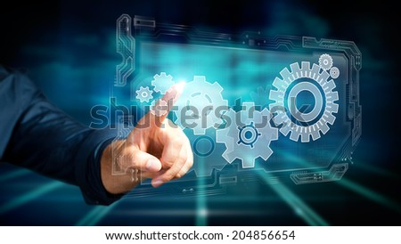 man pressing a virtual interface to control a system #204856654