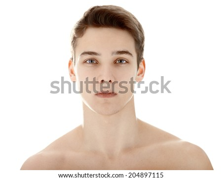 Closeup portrait of young man with health clean skin isolated on white background #204897115