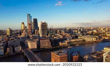 Aerial view of the City of London  Royalty-Free Stock Photo #2050922123