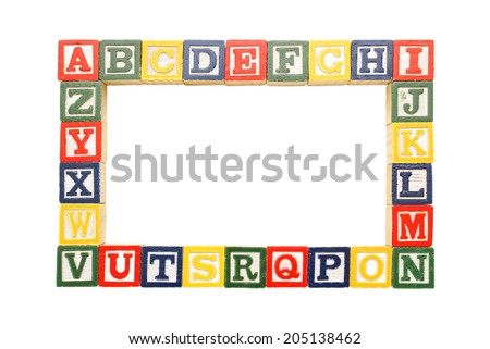 An alphabet frame for inserting your pictures or copy.