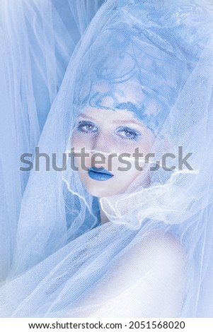 Luxurious Woman. Portrait of a beautiful young woman. Beauty. Charming mysterious luxurious Girl. Fantasy portrait. Beautiful fashion model . Charming blue makeup.Romantic. Elegant lady. Fashion. Royalty-Free Stock Photo #2051568020