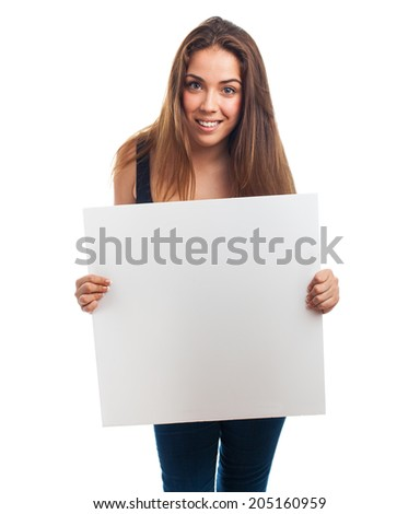 portrait of young girl holding a white banner #205160959