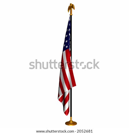 The American Flag draped on a Flag Stand