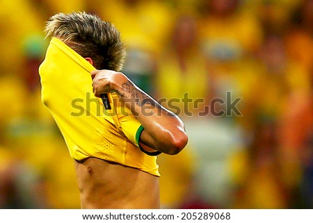 FORTALEZA, BRAZIL - July 4, 2014: Neymar of Brazil during the 2014 World Cup quarter-finals game between Brazil and Colombia at Castelao Stadium.  #205289068