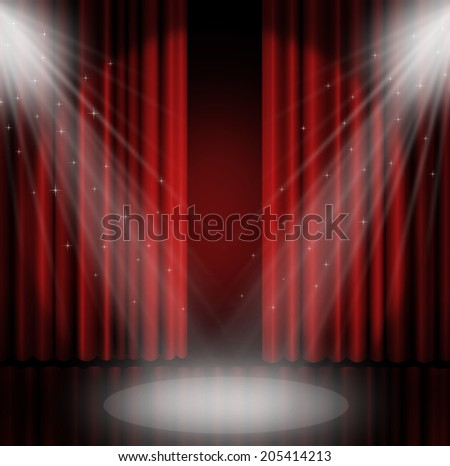 Red curtains on theater with spotlight. #205414213