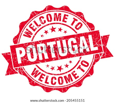 Welcome to Portugal red grungy vintage isolated seal