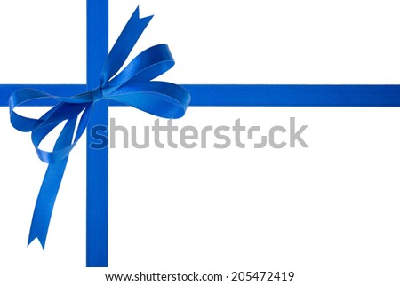 Blue ribbon with a bow on a white background