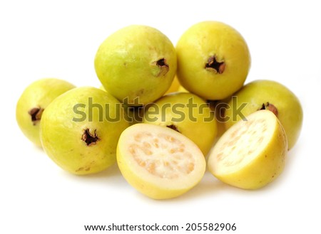 chopped and whole guava on white  #205582906