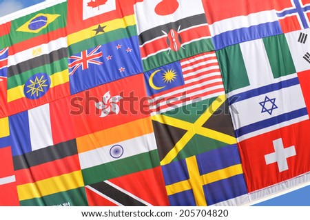 Colorful world flags collage suitable as background