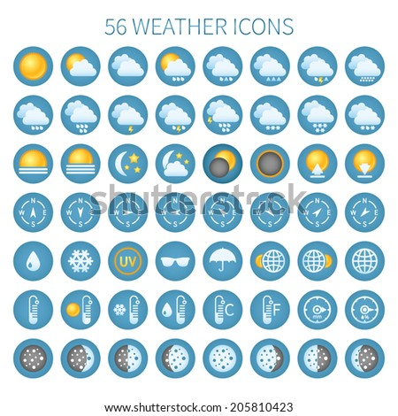 Vector weather icon set for widgets and sites. #205810423