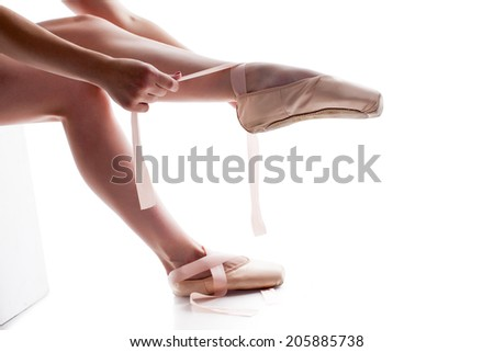 Shapely female legs in pointes, close-up #205885738