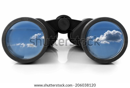 The sky reflected in a pair of new binoculars Royalty-Free Stock Photo #206038120