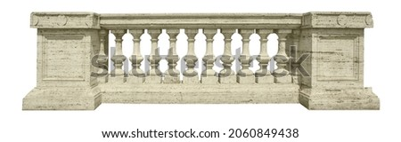 Stone Baluster With clipping path isolated on white Royalty-Free Stock Photo #2060849438