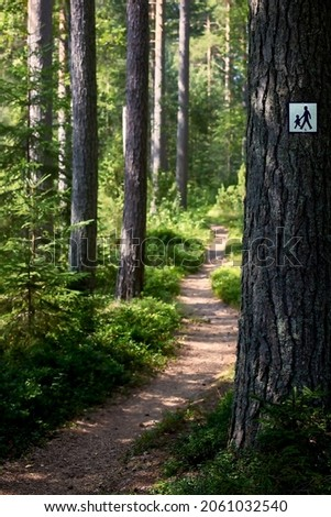 Footpath in green forest with footpath symbol sign attached to tree trunk. Royalty-Free Stock Photo #2061032540