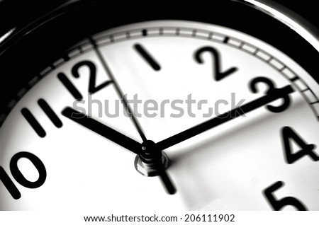 Time passing over the face of home office Wall Clock. Concept photo of time, timing, business, busy, deadline.No people. Copy space #206111902