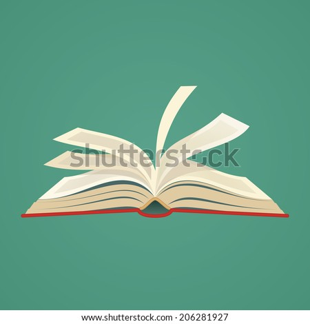red covered opened book with pages fluttering