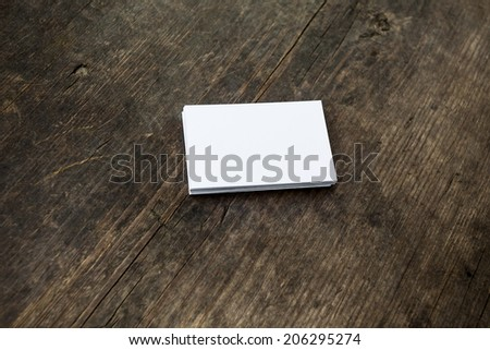 Blank a stack of b-cards on a wooden texture
