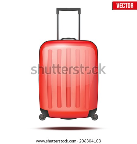 Classic red plastic luggage suitcase for air or road travel. Vector Illustration isolated on white background. #206304103