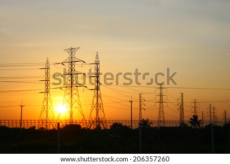 transmission power line on sunset #206357260
