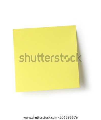 Sticky note isolated on white background with clipping path. Royalty-Free Stock Photo #206395576