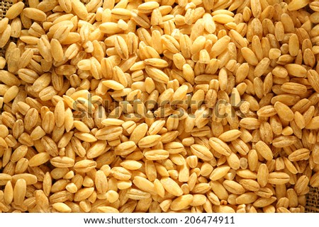 Pearl barley on sacking background #206474911