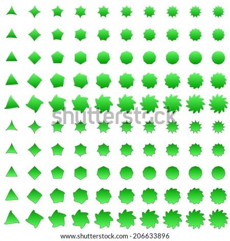 Green deformed polygon shape collection - vector version #206633896