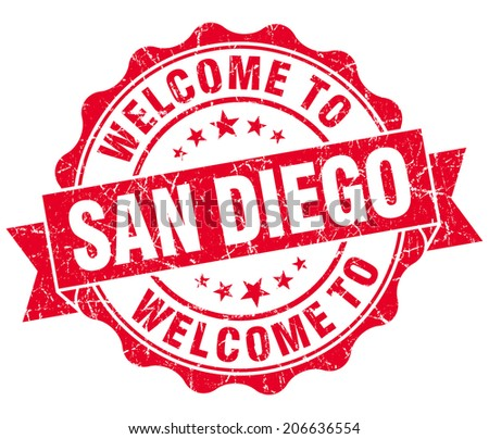 welcome to San Diego red vintage isolated seal