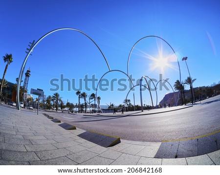 BARCELONA, SPAIN - FEBRUARY 7, 2014: Modern Sculpture on Placa de les Drassanes in Barcelona, Catalonia, Spain #206842168