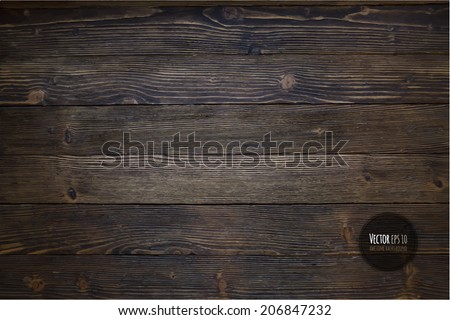 Wood texture, vector Eps10 illustration. Natural Dark Wooden Background. Royalty-Free Stock Photo #206847232