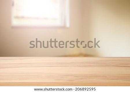desk of wood and window space with sun  #206892595