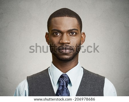 Closeup portrait, headshot, handsome happy, young, serious business man, confident student, real estate agent, isolated black grey background. Positive face expressions, emotions, feelings, attitude #206978686
