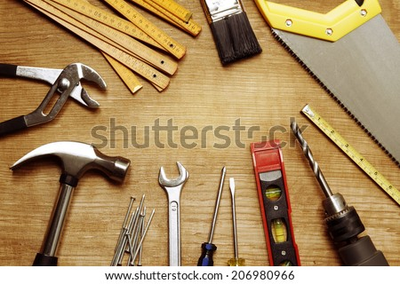 Assorted work tools on wood #206980966
