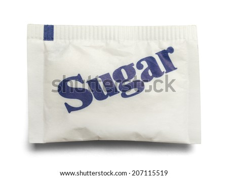 Small Paper Sugar Packet Isolated on a White Background. Royalty-Free Stock Photo #207115519