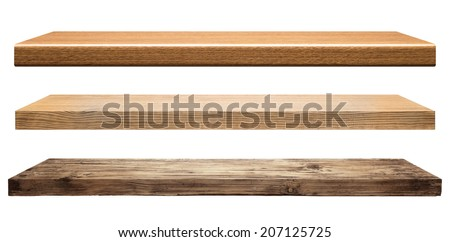 Wooden shelves isolated on white Royalty-Free Stock Photo #207125725
