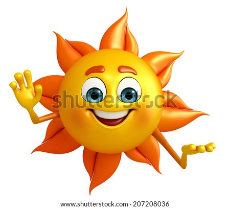 Cartoon Character of sun with hello pose
