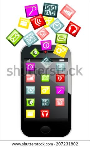 Touchscreen smartphone with colorful application icons isolated on white background #207231802