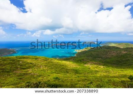 Aerial landscape of beautiful tropical coast of Virgin Gorda island at Caribbean #207338890