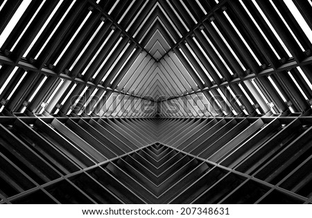 metal structure similar to spaceship interior in black and white #207348631