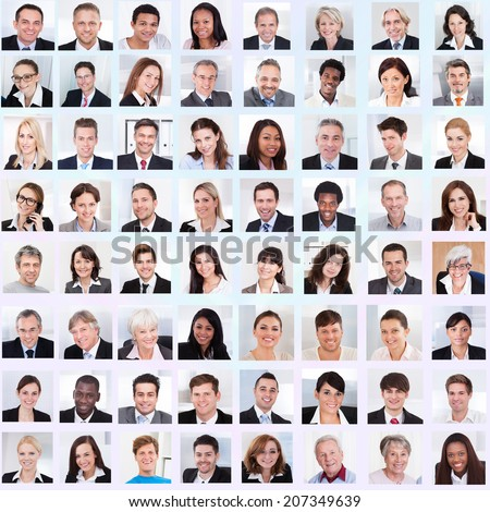 Collage of diverse multiethnic business people smiling #207349639