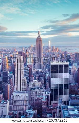New York City skyline under pastel evening sky #207372262