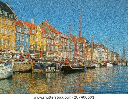 denmark ships and house oil painting