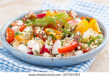 healthy food - salad with fresh vegetables and cottage cheese in blue plate, close-up #207425401