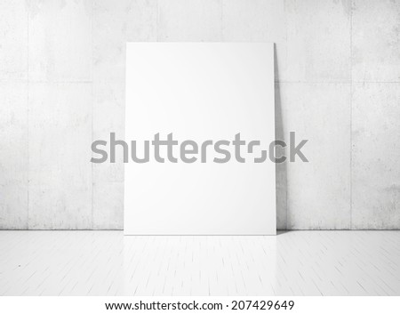 White poster on a concrete wall