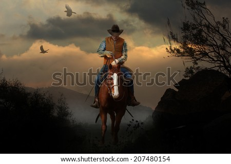 A cowboy riding a horse in the mountains with clouds, crows and tree branches.