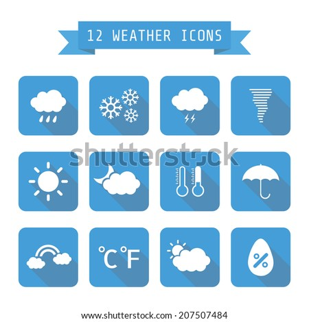 set of  weather icon with shadow, flat style #207507484