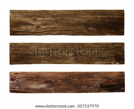 Old Wood plank, isolated on white background Royalty-Free Stock Photo #207537970