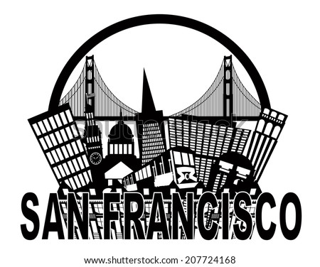 San Francisco California Abstract Black and White Downtown City Skyline with Golden Gate Bridge and Cable Car Isolated on White Background Vector Illustration