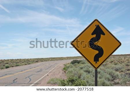 Curve ahead road sign #2077518